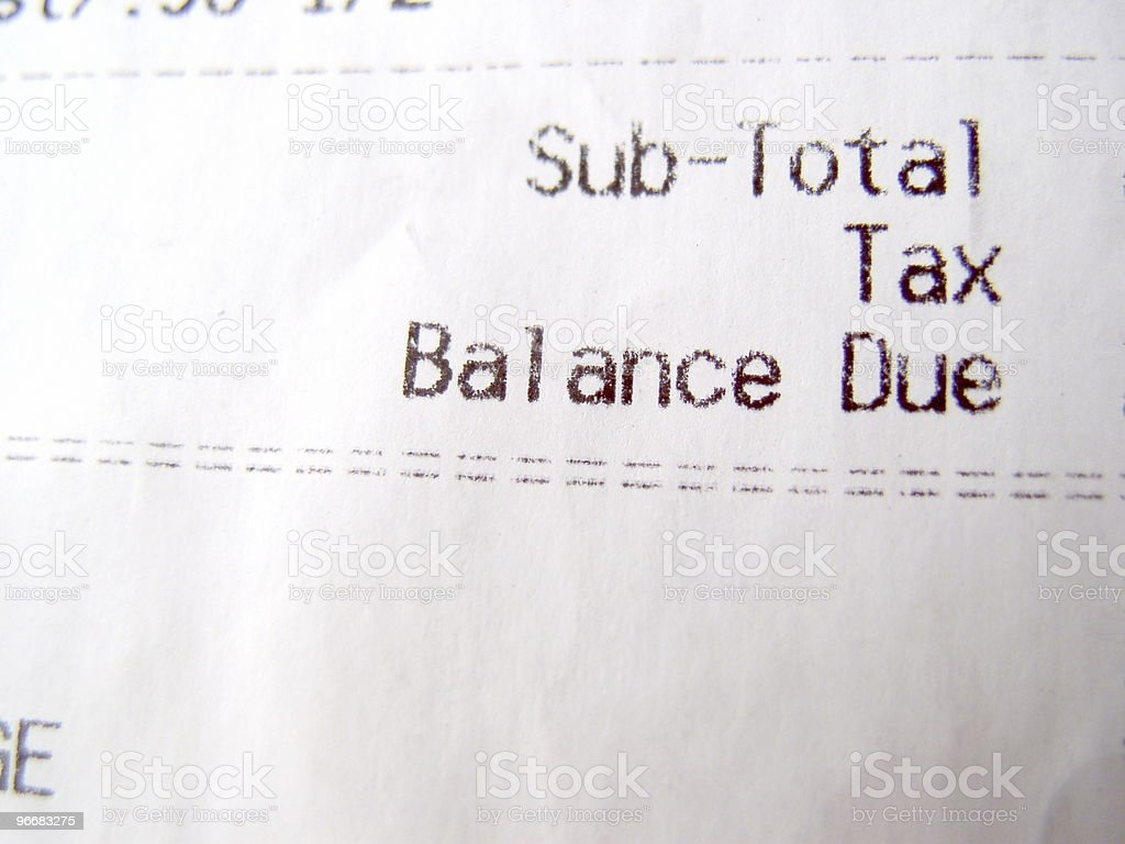 Balance Due, Cash Register Reciept stock photo