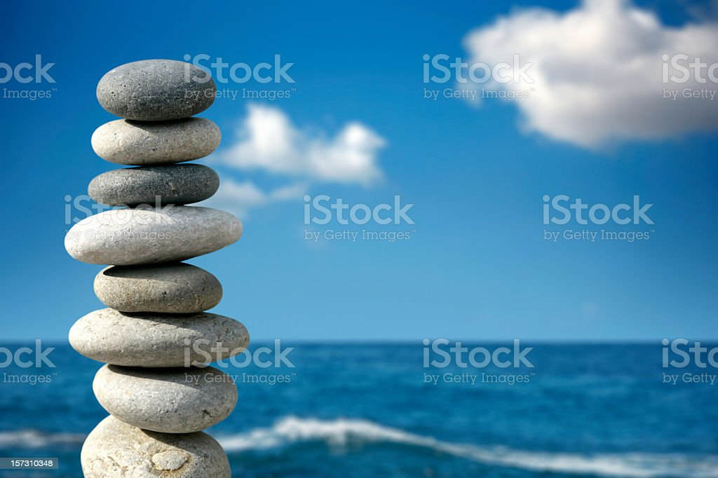 balance in blue stock photo