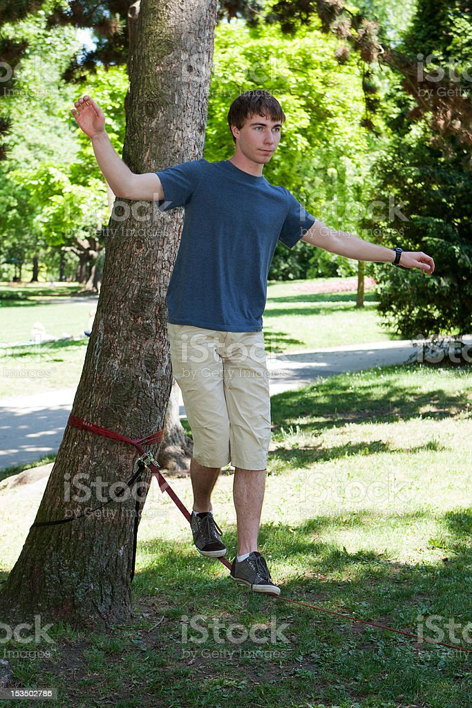 balance on Slackline stock photo