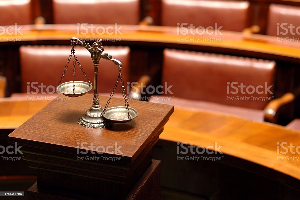 Balance representing justice in a court royalty-free stock photo