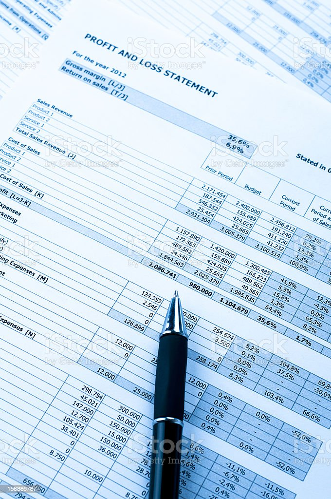 Balance sheet, market data and financial figures in business concept stock photo