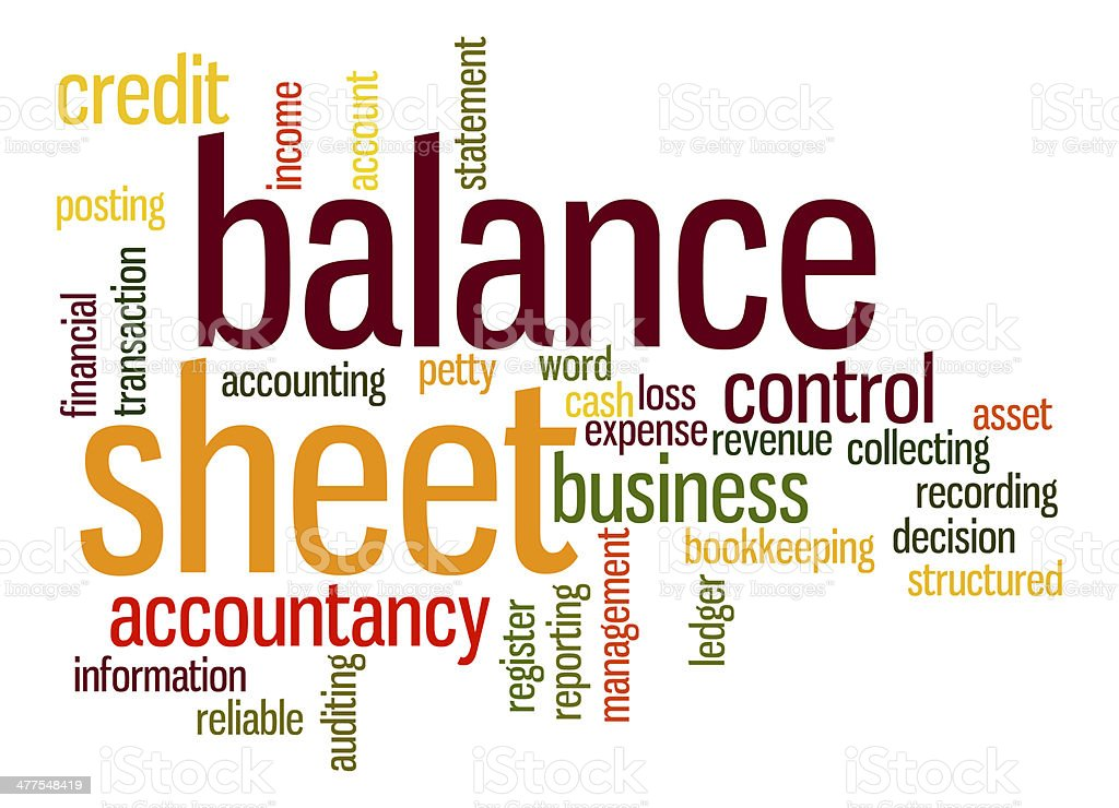 Balance sheet word cloud stock photo