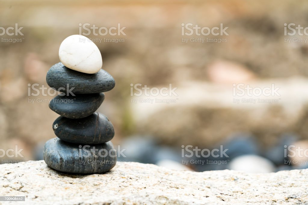 Balance stone stack, the difference always outstanding and put on top, stone, balance, rock, peaceful concept stock photo