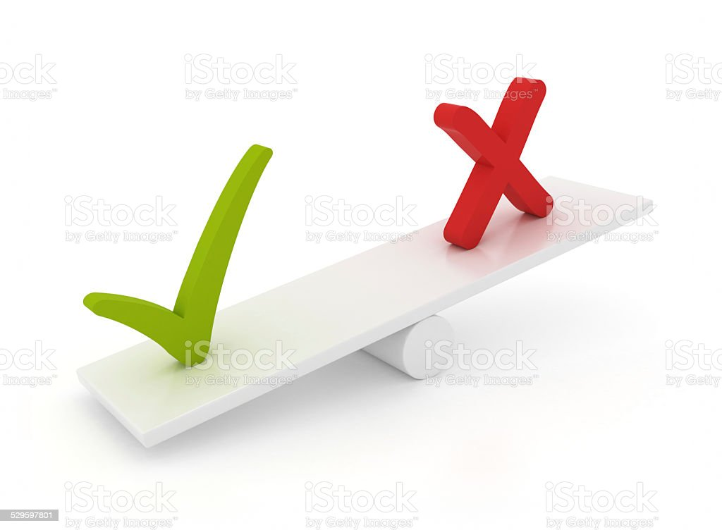 Balance with error and check mark sign stock photo