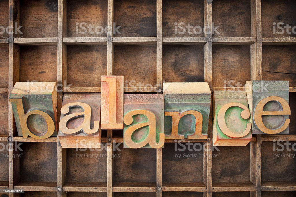 balance word in wood type royalty-free stock photo