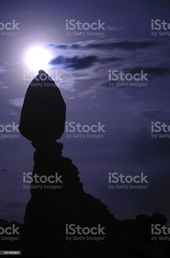 Balanced Rock and Moon in Arches National Park royalty-free stock photo