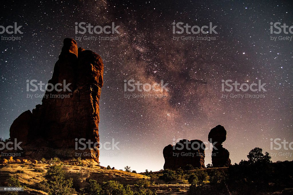 Balanced Rock, Arches National Park, Utah stock photo
