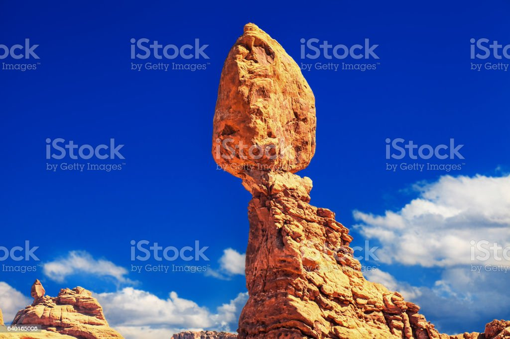 balanced rock at arches national park stock photo