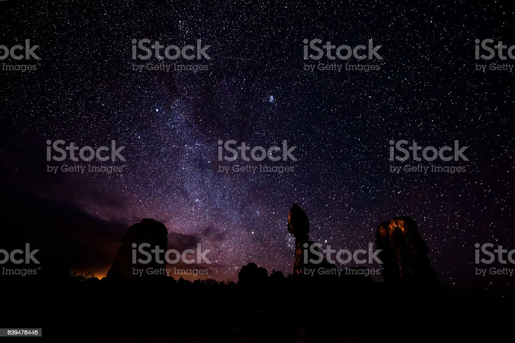 Balanced Rock at Night stock photo