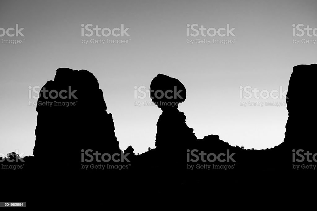 Balanced Rock Black and White Silhouette stock photo