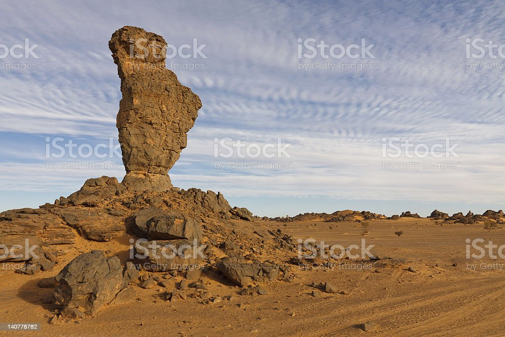 Balanced Rock in the Akakus Mountains, Sahara, Libya stock photo