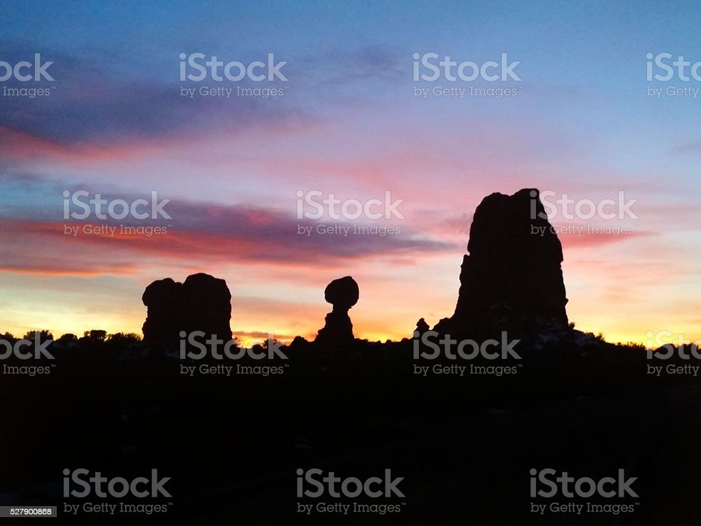 Balanced Rock Silhouette, Sunset, Arches National Park, Utah stock photo