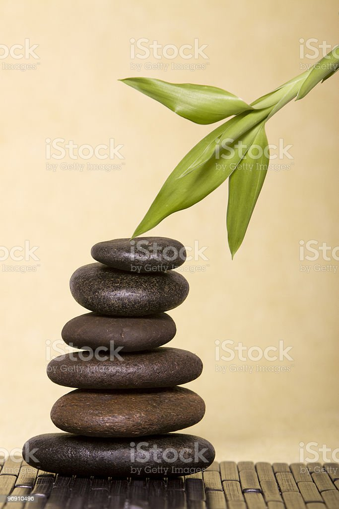 Balanced spa rocks and bamboo royalty-free stock photo