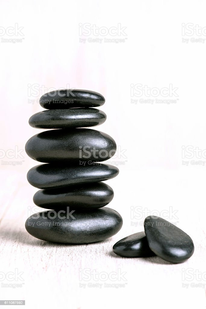 Balanced Stack of Zen Pebbles stock photo