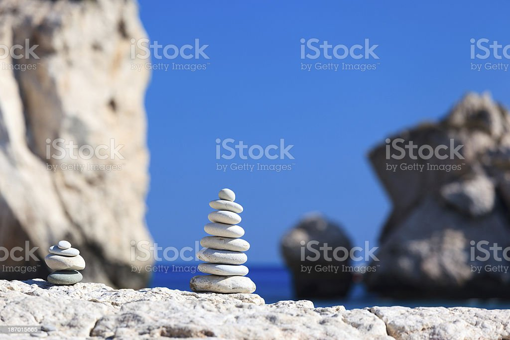 Balanced stones at The Aphrodite's Beach - Cyprus royalty-free stock photo