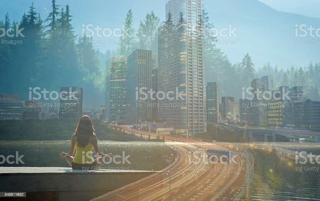 Balancing a healthy lifestyle in the city stock photo