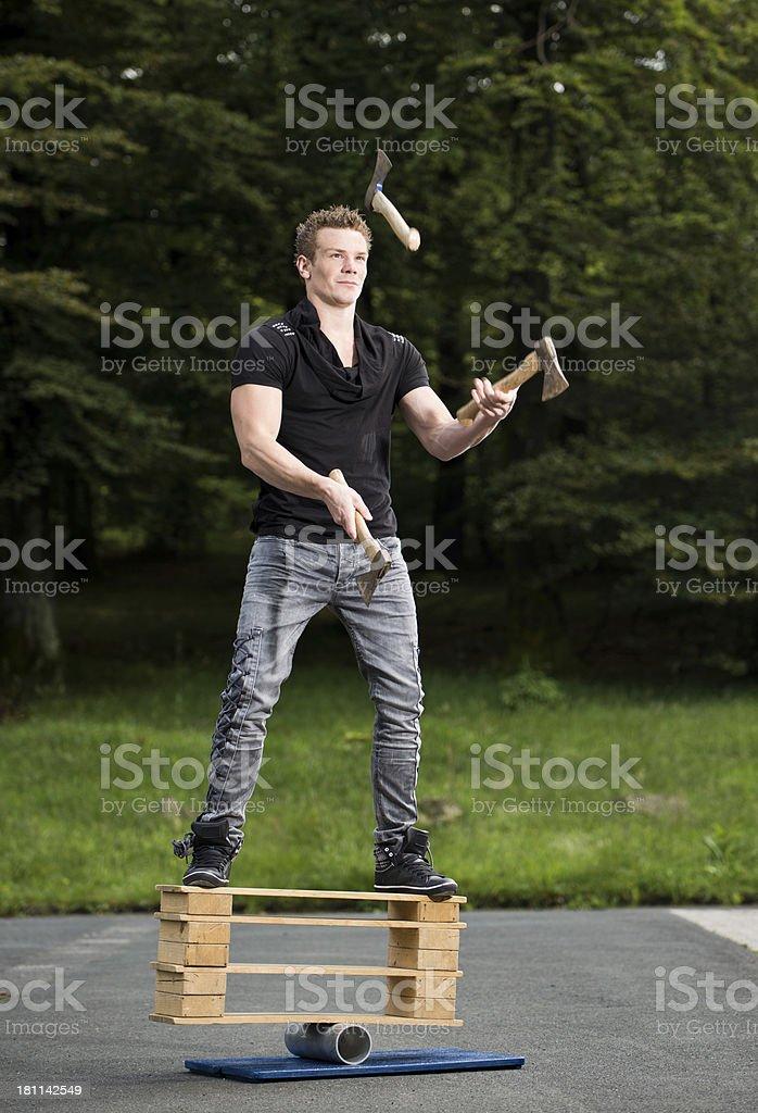balancing and juggling stock photo