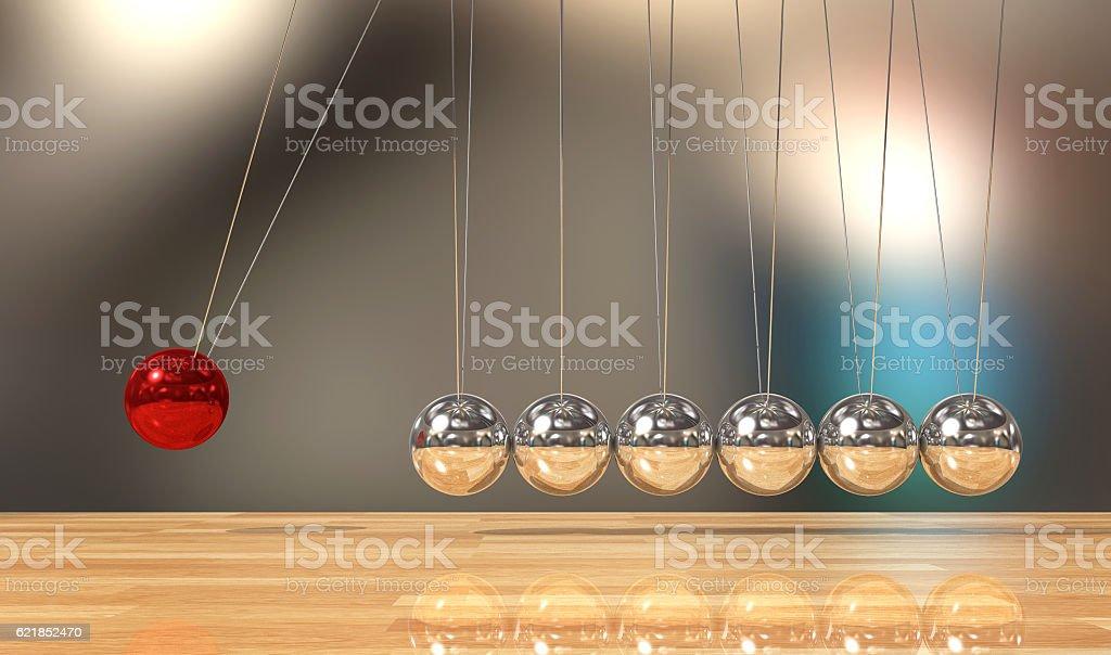 Balancing ball Newton's cradle pendulum stock photo