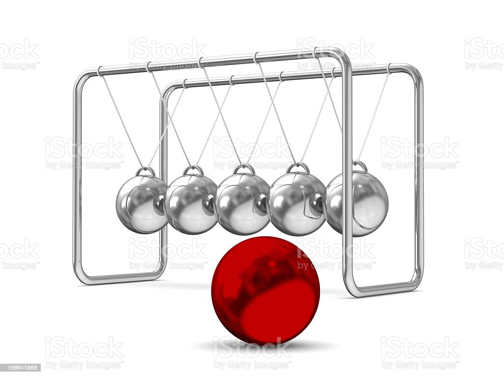 Balancing balls on white background. Isolated 3D image royalty-free stock photo