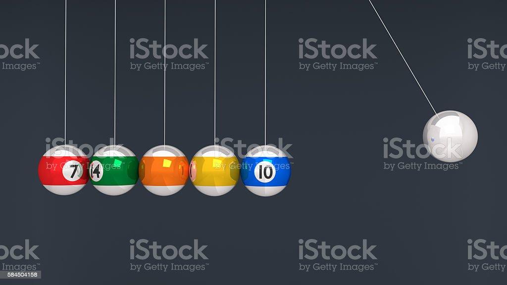 Balancing billiard balls stock photo