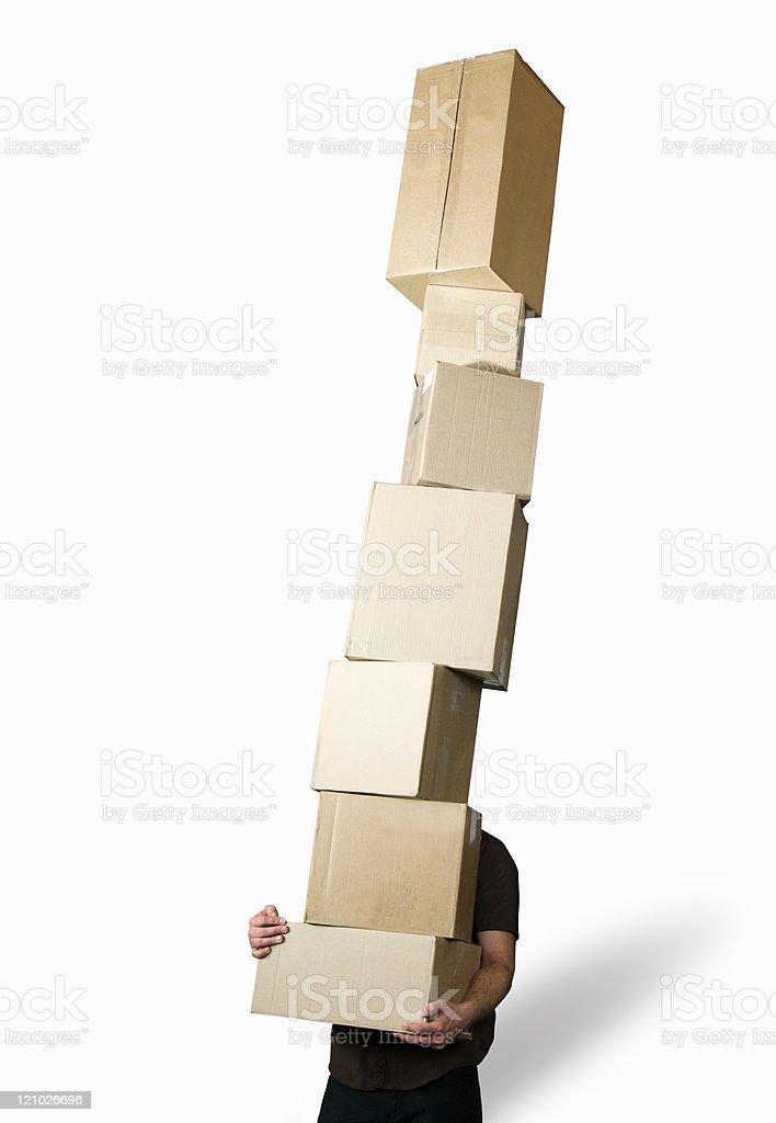 Balancing boxes royalty-free stock photo