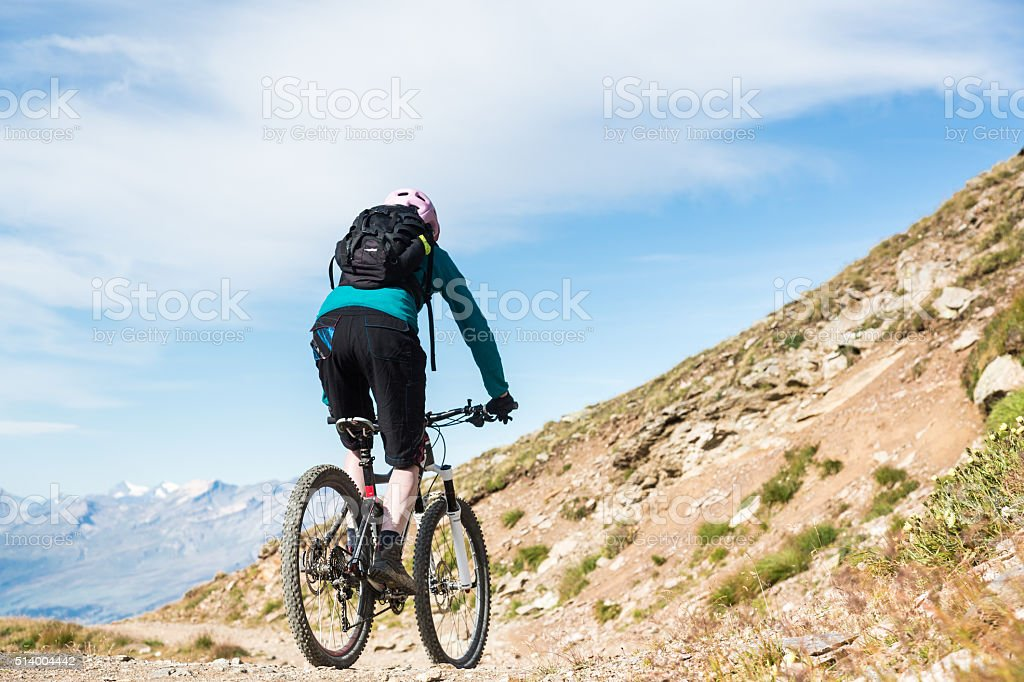 Balancing on Graubünden Single Trails. Switzerland stock photo