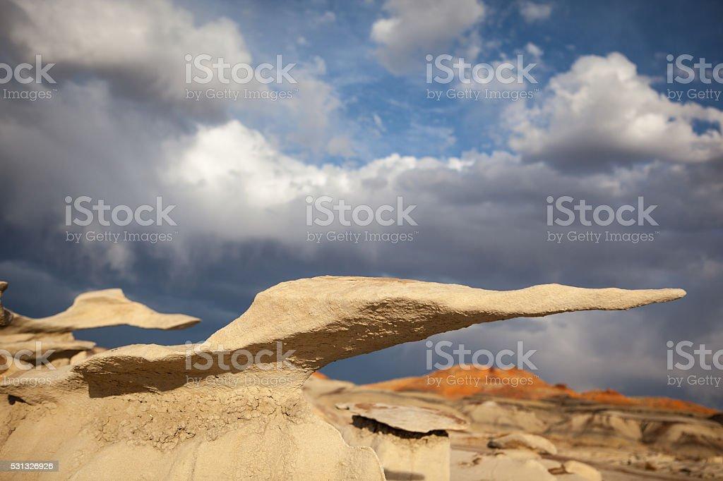 Balancing rocks in Bisti Badlands in New Mexico. stock photo