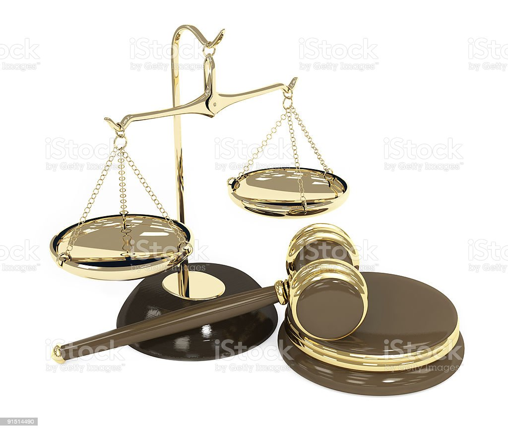 Balancing scale and judge's gavel in white background royalty-free stock photo
