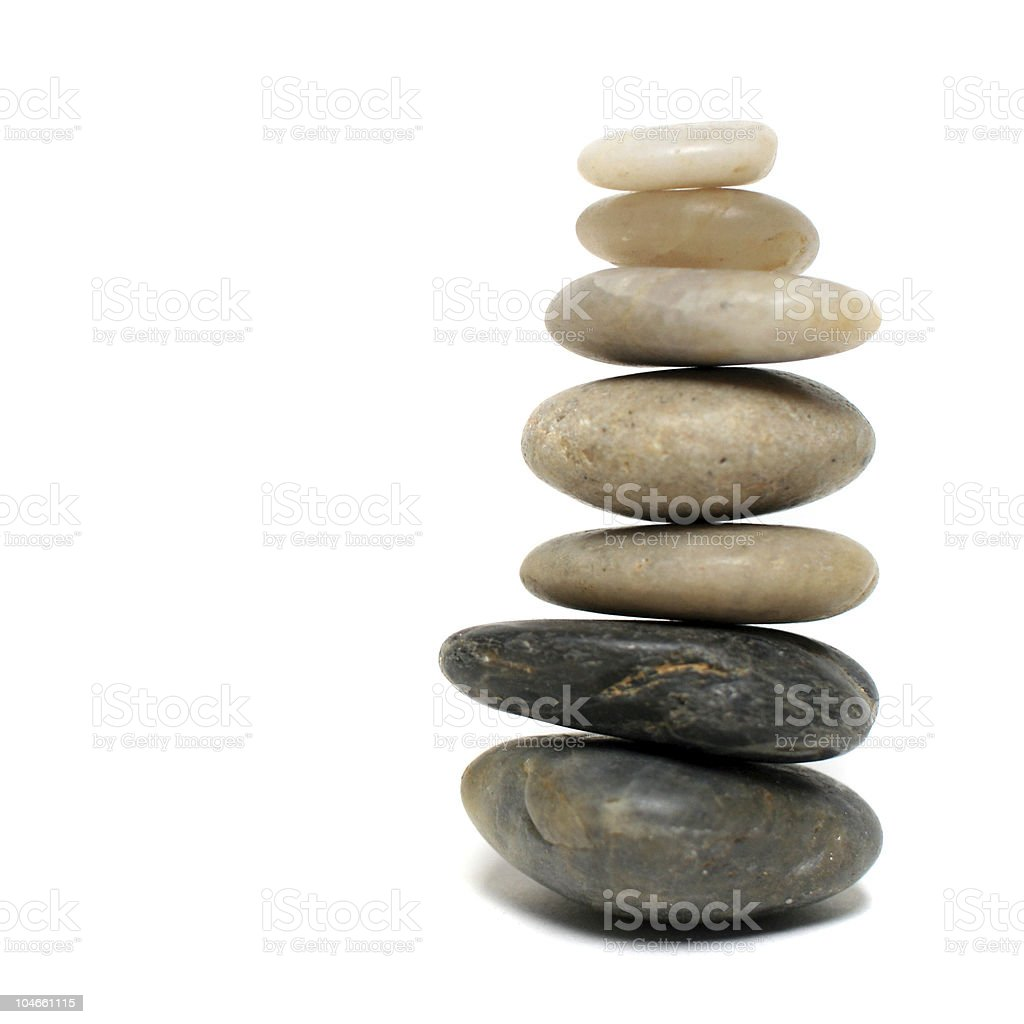 Balancing Stones - Isolated on a White Background royalty-free stock photo