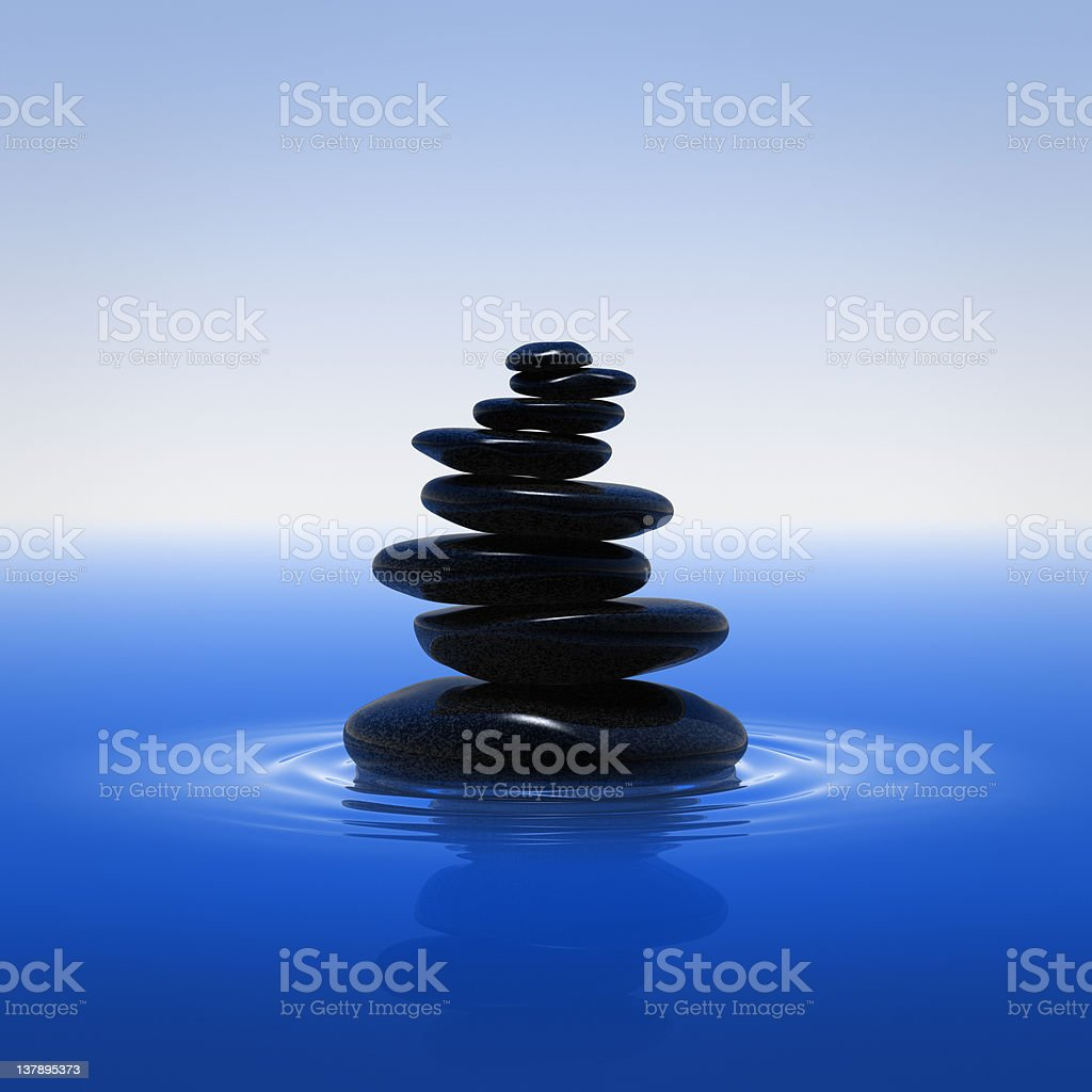 Balancing Stones On The Water royalty-free stock photo