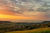 Balaton and Nivegy valley wine region at sunrise, Hungary