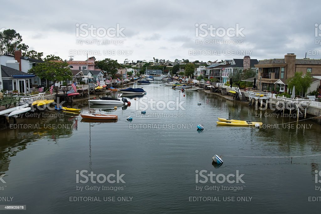 Balboa Island Canal In Newport Beach Claifornia stock photo