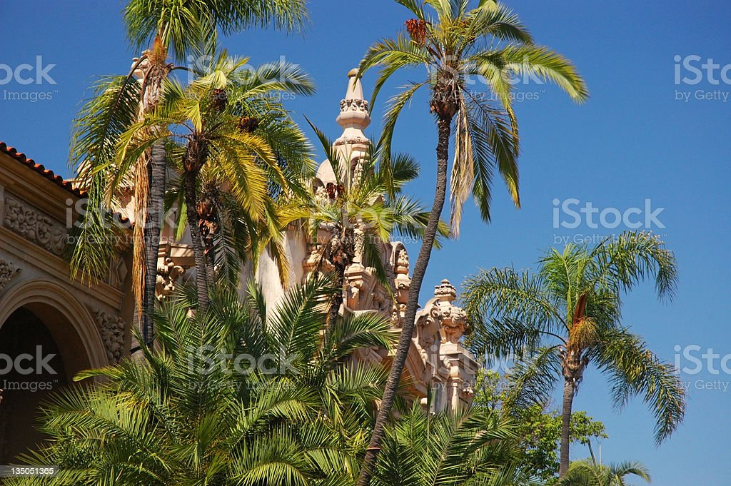 Balboa Park architecture and trees stock photo