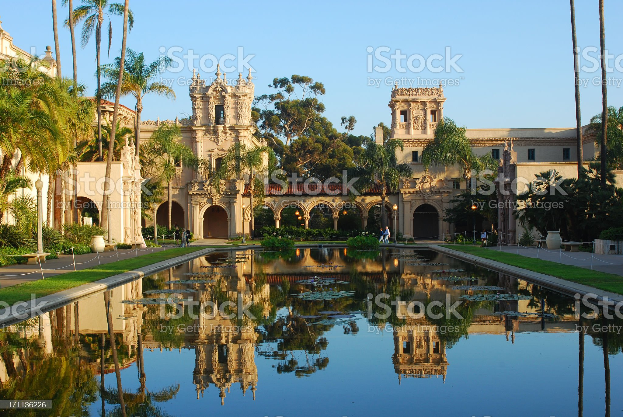 Balboa Park in reflection, San Diego royalty-free stock photo
