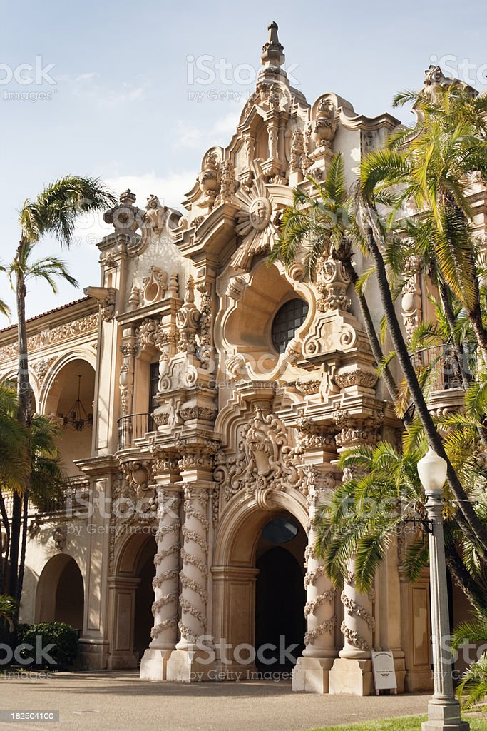 Balboa Park Spanish Colonial Revival Theater Building, San Diego, California stock photo