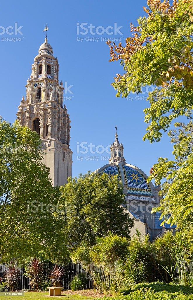 Balboa Park's California Tower in San Diego (P) stock photo