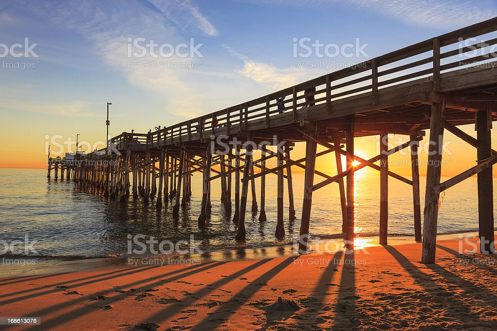 Balboa Pier in Orange County, California at sunset stock photo