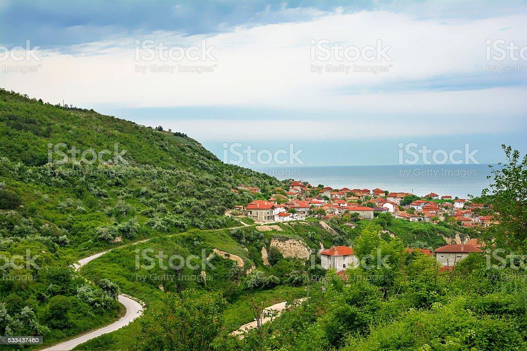 Balchik view, seaside resort in  Bulgaria stock photo