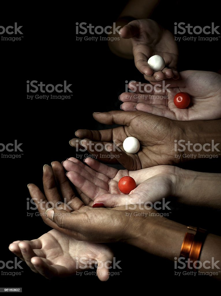 balck and white hands royalty-free stock photo