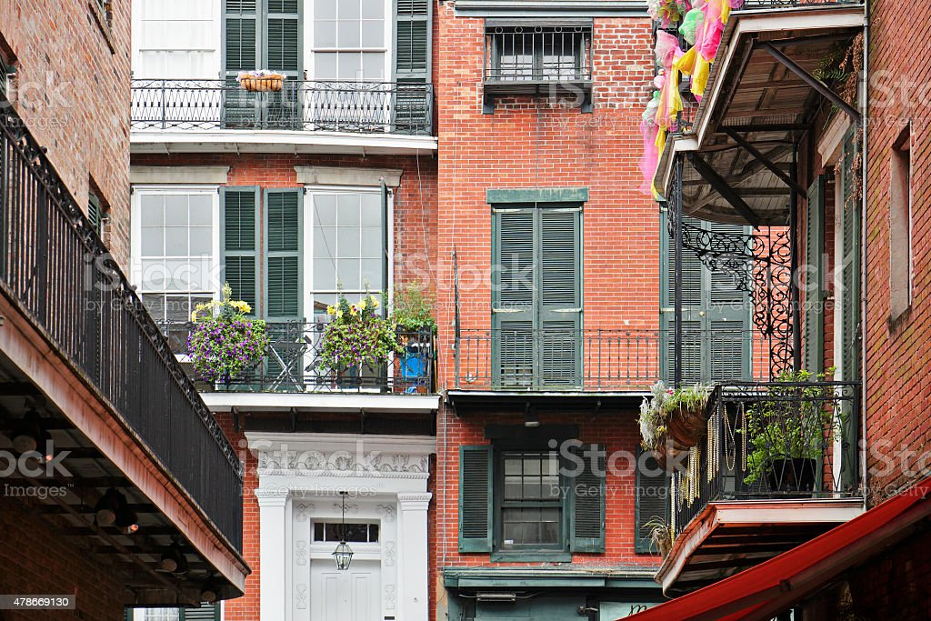 Balconies - French Quarter - New Orleans stock photo