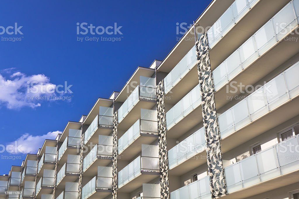 Balconies in a modern apartment building royalty-free stock photo