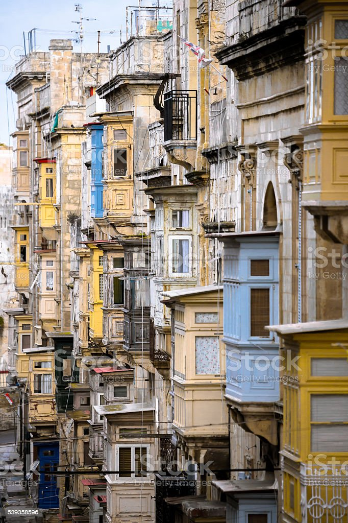 Balconies in Malta stock photo
