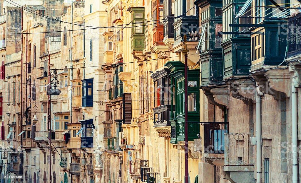 Balconies in Valletta, Malta stock photo