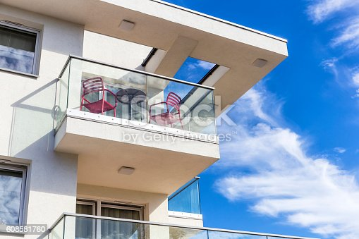 Balconies In White Modern Apartment Building Poland Stock Photo