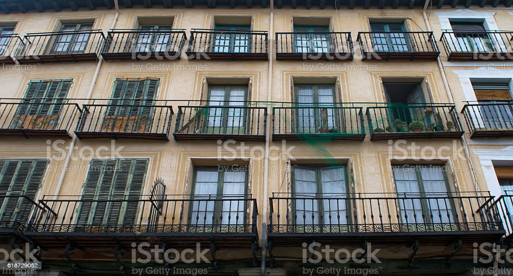 Balconies of an old building. stock photo