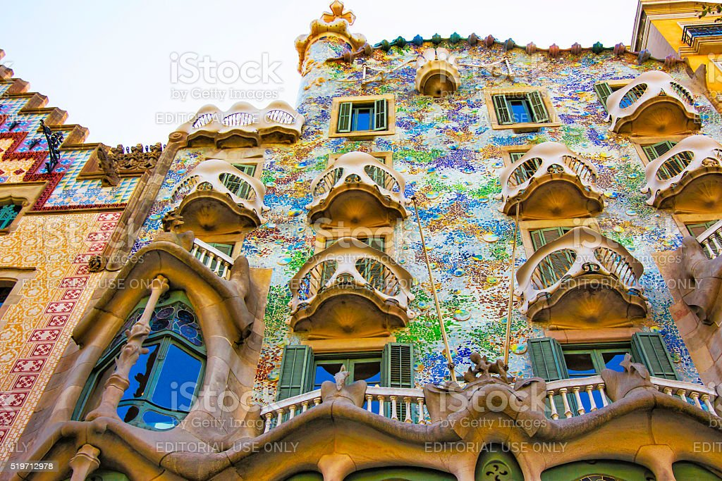 Balconies of Casa Batllo building in Barcelona in Spain stock photo
