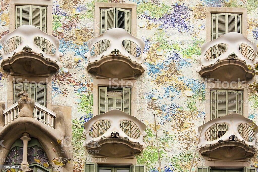 Balconies of Casa Batllo in Barcelona stock photo