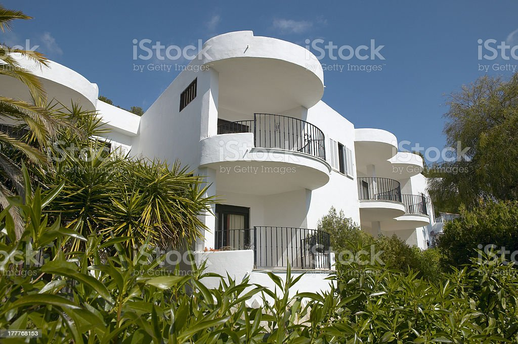 Balconies of Residential building at Mediterranean place. royalty-free stock photo