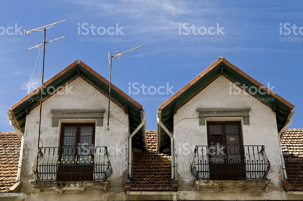 Balcones casa antigua stock photo