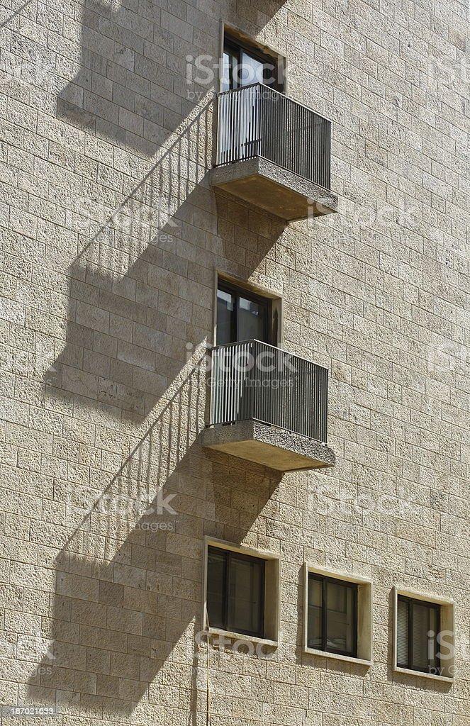 Balconies shadow in Jerusalem royalty-free stock photo